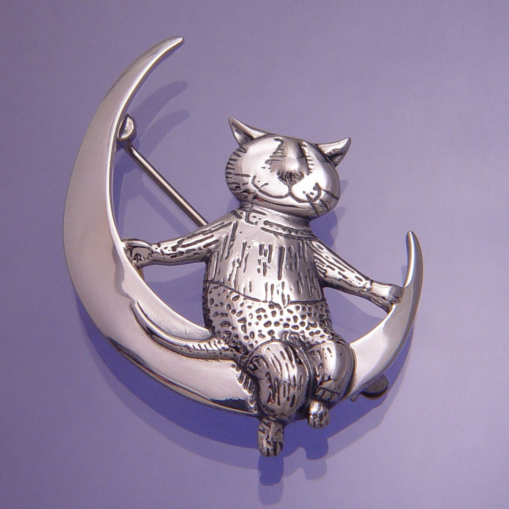 Gorey Moon Cat Sterling Silver Pin