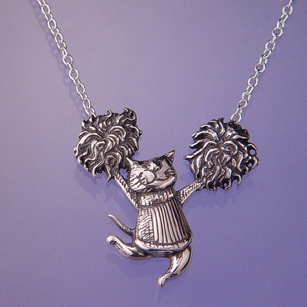 Gorey Pom Pom Cat Sterling Silver Necklace