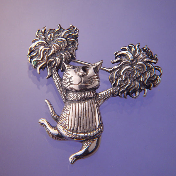 Gorey Pom Pom Cat Sterling Silver Pin