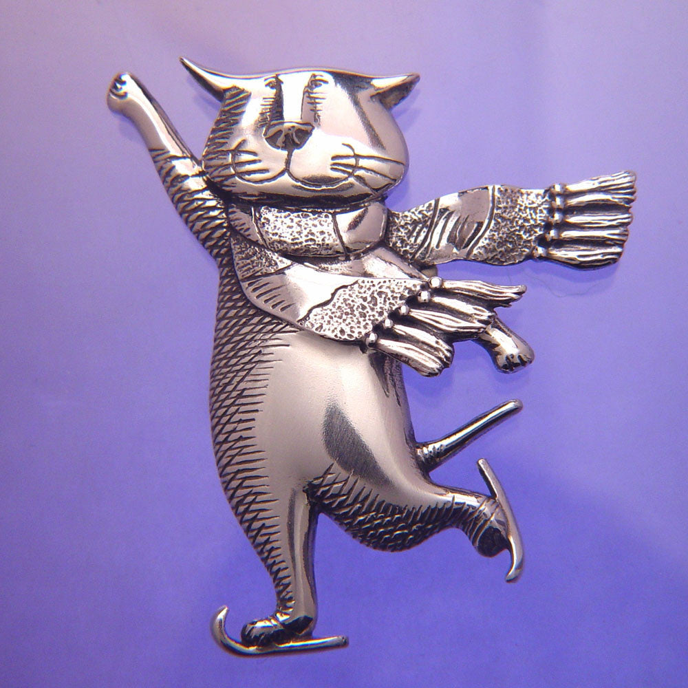 Gorey Skating Cat Sterling Silver Pin