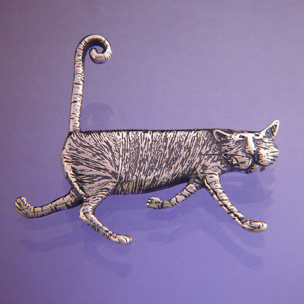 Gorey Stripey Cat Sterling Silver Pin