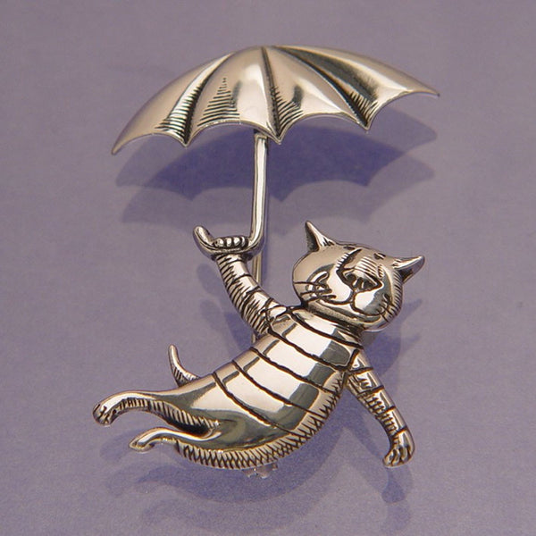 Gorey Umbrella Cat Sterling Silver Pin