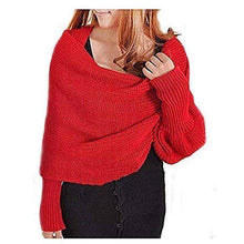 Load image into Gallery viewer, Knitted Wrap Scarf With Sleeves