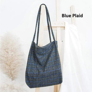 Plaid Wool Tote Bag: 2 colors