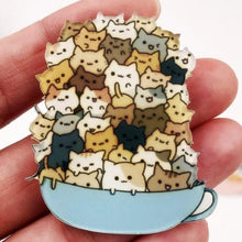 Load image into Gallery viewer, Cute Cartoon Stacked Cat Acrylic Brooch
