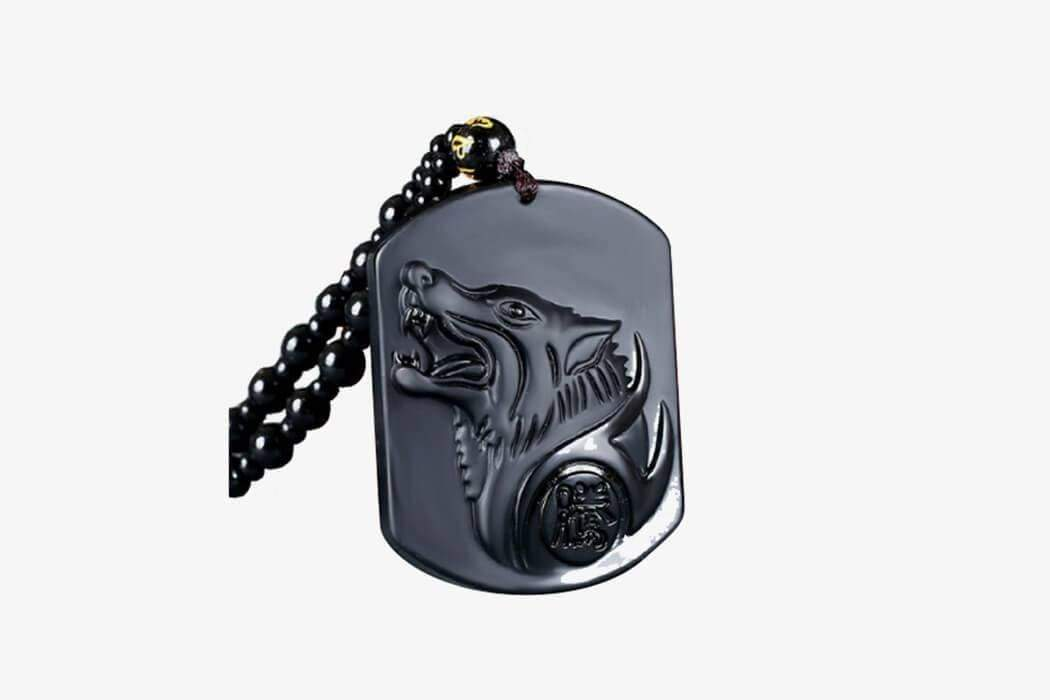Dark Wolf Obsidian Necklace