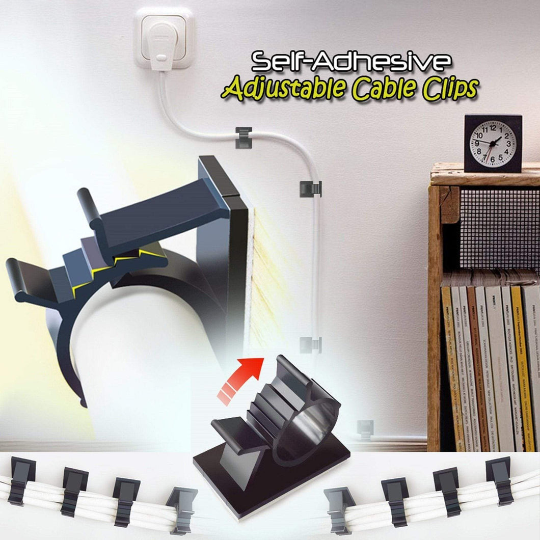 Self-Adhesive Adjustable Cable Clips - 10 PCS