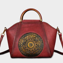 Load image into Gallery viewer, Genuine Leather Embossing Totem Elegant Handbag-Red Bean Paste