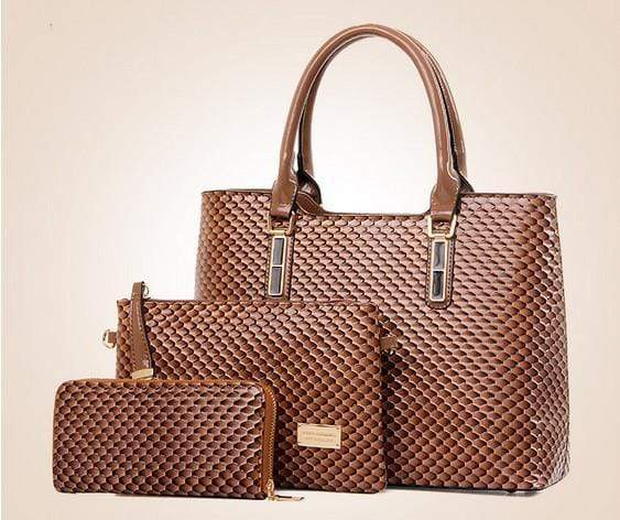 3Pcs Luxury Snake Leather Ladies Handbag