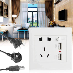 Five-Hole Dual USB Wall Switch Socket