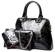 Load image into Gallery viewer, Women's Shiny Patent Flower Pattern Cross body Bag