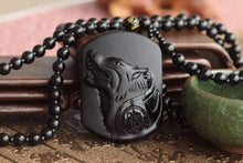 Load image into Gallery viewer, Dark Wolf Obsidian Necklace