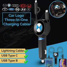 Load image into Gallery viewer, Car Logo Three-In-One Charging Cable
