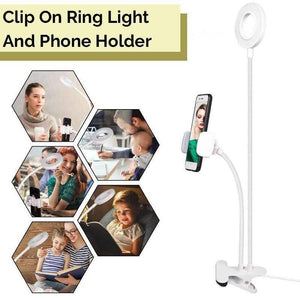 Clip On Ring Light And Phone Holder