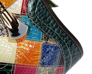 Colorful Leather Stitching Handbag Shoulder Bag