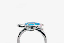 Load image into Gallery viewer, Blue Glow Opal Turtle Ring