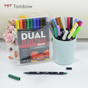 Tombow dual brush pen and marker: sets of 10
