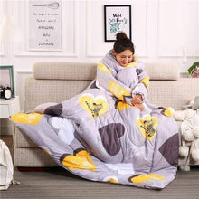 Load image into Gallery viewer, Wearable Blanket Lazy Quilt with Sleeves