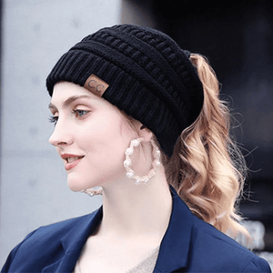 Soft knitting Horsetail Cap