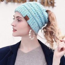 Load image into Gallery viewer, Soft Knit Ponytail Confetti Beanie