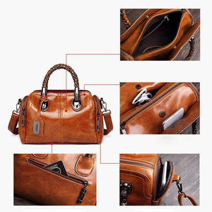 Large Capacity Multi Pockets Woven Tote Women Leather Handbag