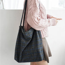 Load image into Gallery viewer, Plaid Wool Tote Bag: 2 colors
