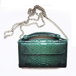 Snake Pattern Genuine Leather Clutch