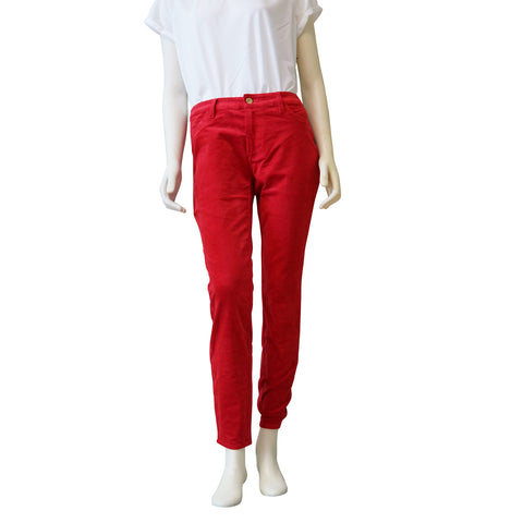 ELLEN TRACY Denim Skinny Velvet Womens Pants (Cherry Tomato) - ARK Industry Store