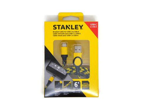 STANLEY Braided Cable USB-C to USB-A 6' 1.8m Extra Tough Cable - ARK Industry Store