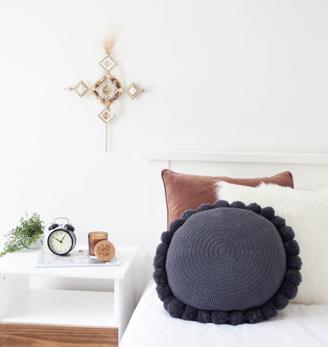 Navy Pom Pom Cushion