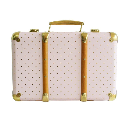 Alimrose Vintage Style Carry Case - Pink Gold Spot - Fast