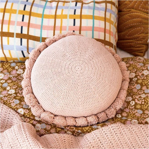 Blush Pom Cushion - Closely Knit Fast shipping Dreamy Kidz -