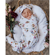 Load image into Gallery viewer, Boho Posy Jersey Baby Wrap & Topknot - Snuggle Hunny Kids