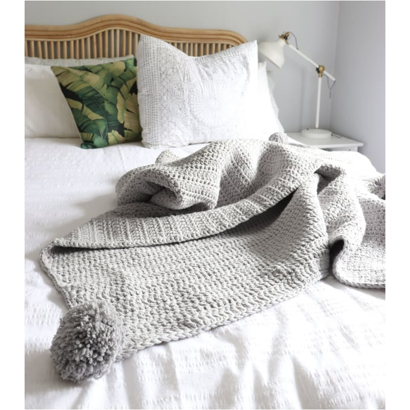 Light Grey Pom Throw - Closely Knit Fast shipping Dreamy