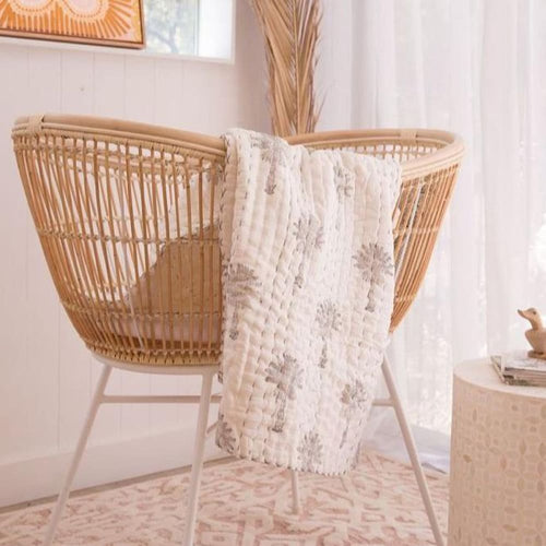 Palm Kantha Bassinet/Pram Throw - Closely Knit Fast shipping