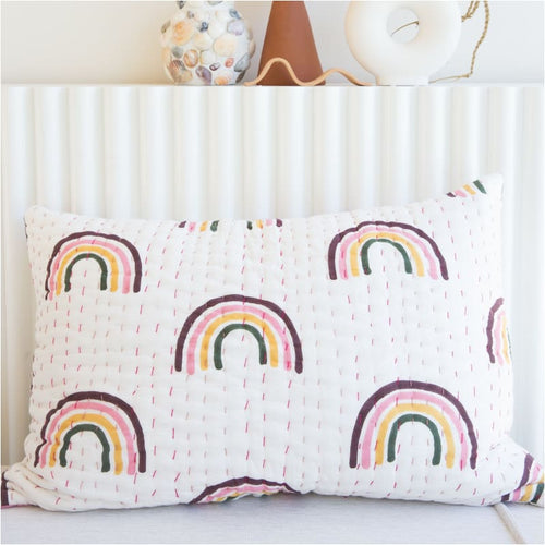 Rainbow Kantha Pillowcase - Closely Knit Fast shipping