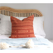 Load image into Gallery viewer, Red Rust Handblocked Cushion - Closely Knit Fast shipping