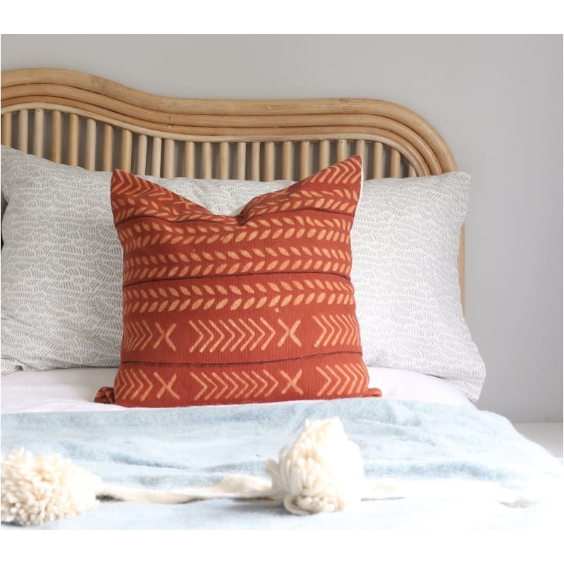Red Rust Handblocked Cushion - Closely Knit Fast shipping