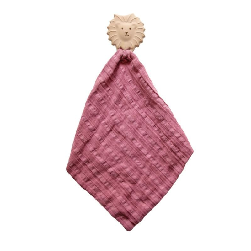 Tikiri | Lion Rubber Teether with a Dusty Pink Muslin