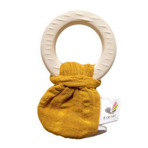 Tikiri | Natural Rubber Teether with a Mustard Muslin Tie -