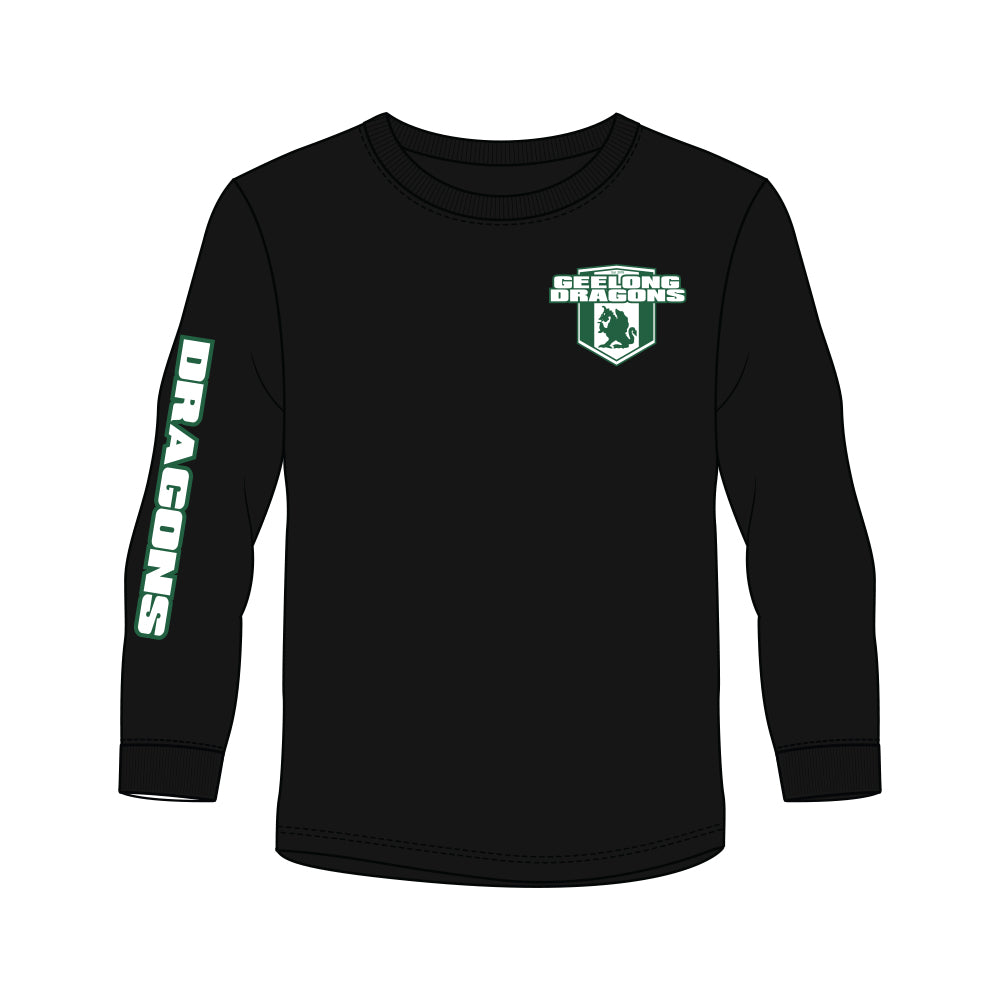Geelong Dragons Long Sleeve Tee - Black