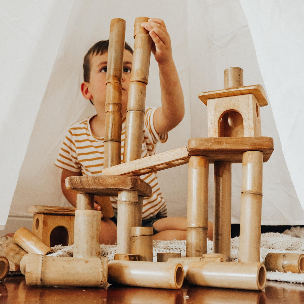 Bamboo Building Set with House