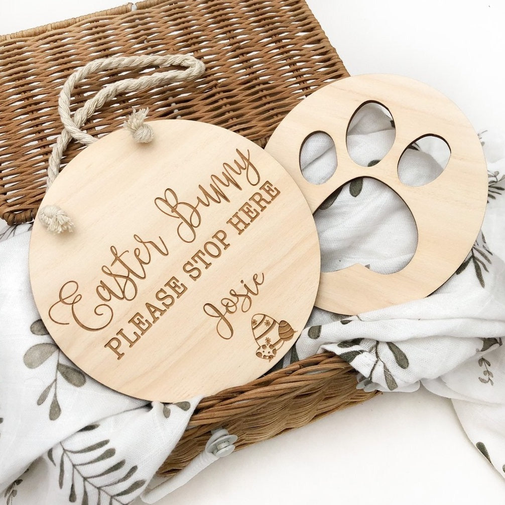 Timber Easter Bunny Sign & Paw Print Stencil Set