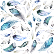 Custom Fabric - Blue Grey Feathers