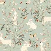 Custom Fabric - Bunnies Dusky Green