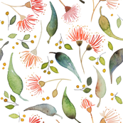 Custom Fabric - Eucalyptus Watercolour