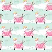 Custom Fabric - Let's Go Surfing Pink Mint