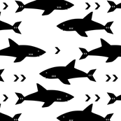 Custom Fabric - Monochrome Sharks