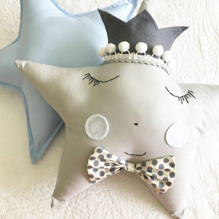 Mr 'Grey & Silver' Star Pillow - (4 WEEKS TURNAROUND TIME)