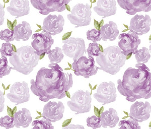 Custom Fabric - Purple Watercolour Floral